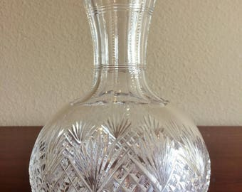 Lead Crystal Cut Glass Open Decanter or Vase