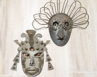 Vintage Tin Wall Masks from Mexico