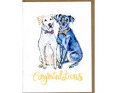 Gay Wedding Card, Same-sex Wedding Card, Mr and Mr Wedding Card, Dog wedding card, Dapper Dog card, Same sex congratulations card