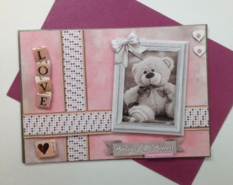 Girl birth congratulations card, made, 3D, Teddy bear