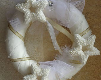 White linen Christmas Wreath gold stars and ribbons