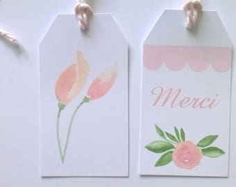 "Six tags ""Thanks"" decoration pink flowers watercolor, with their Twine"