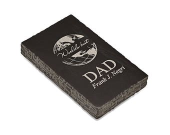 World's Best Dad Black Marble Paperweight - Laser Engraved Marble Paperweight for Dad - Personalized Luxury Desk Paperweight Gift for Him