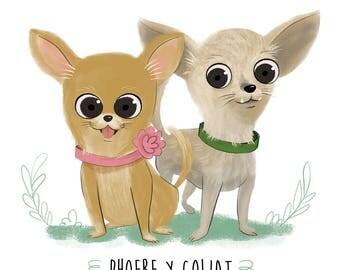 2 Pets custom portrait, digital format