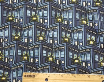 Doctor Who Tardis Stretchy Fabric, Yardage or Fat Quarters, FQ, Dr Who Fabric ,Police Public Call Box, Dr Who Tardis, Poly/spandex, Leggins