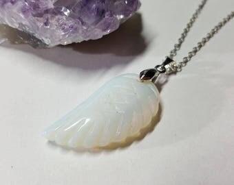 Opalite Jewelry, Opalite Necklace, Opalite Pendant, Opalite Jewellery, Angel Wing, Angel Wing Necklace, Crystal Pendant, Crystal Necklace