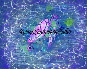 Watercolor Sea Turtle. Instant Digital Print.
