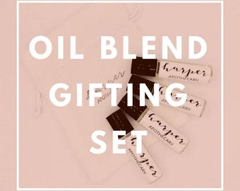 Oil Blend Gifting Set of 5 or 10 Essential Oil blends / Gifts under ten dollars / Stocking Stuffer / Small Gift Ideas / Aromatherapy Rollers