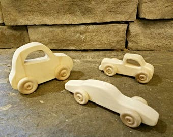 Set of 3 wooden vehicles cars and truck