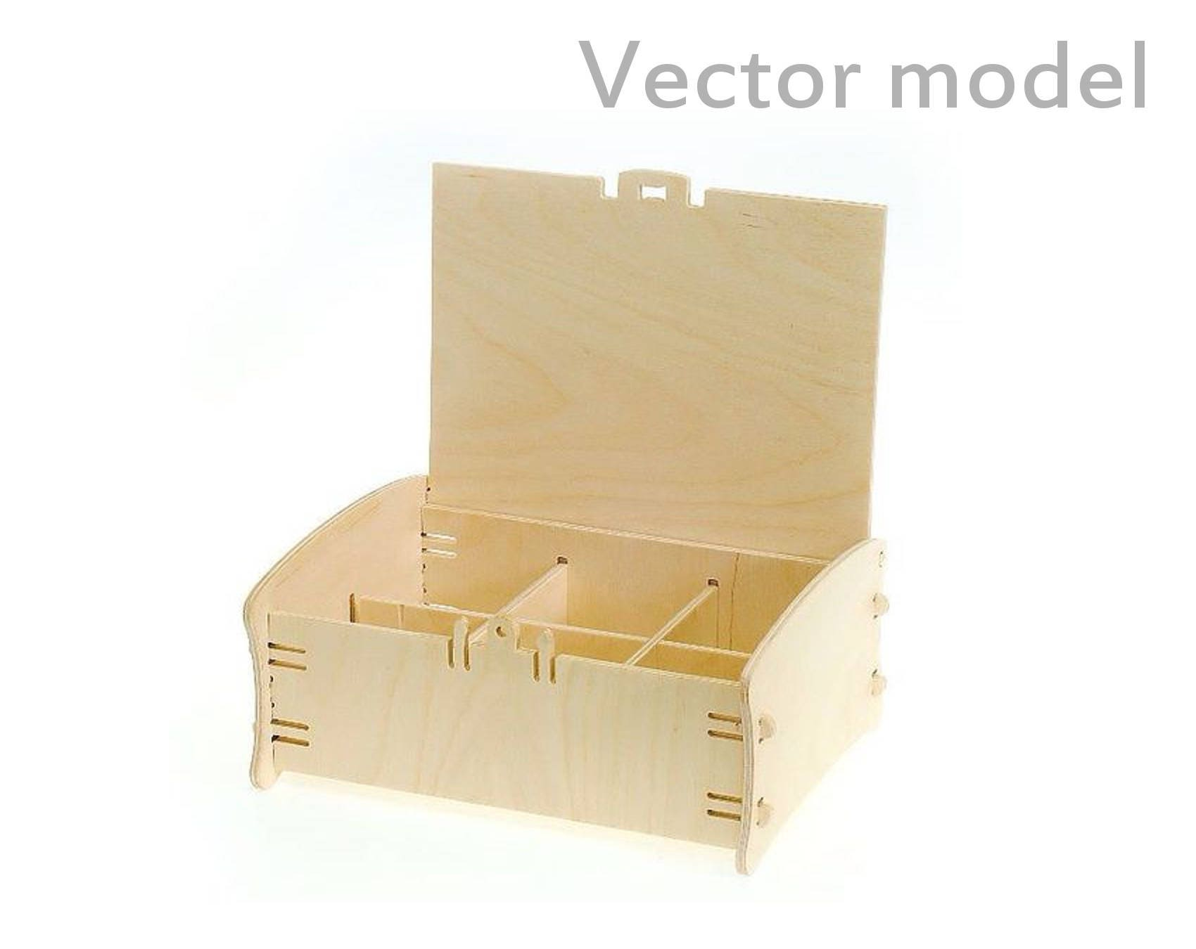 box with 6 compartments drawing box with latches laser cut. Black Bedroom Furniture Sets. Home Design Ideas