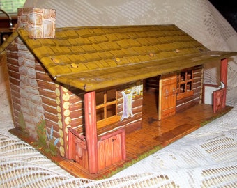 Vintage Marx Bar M Ranch Tin Litho Dollhouse Cabin Mid Century