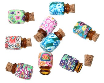 5 Polymer Clay & Glass  Bottles with Corks (B234h)