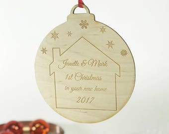 Personalised New Home Bauble - New Home Christmas Decoration - New Home at Christmas - Wooden Bauble - Christmas Decor