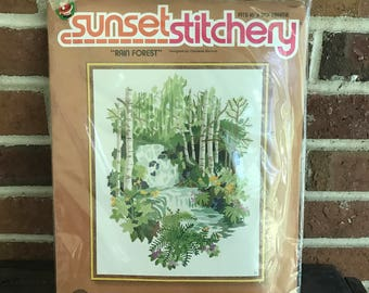 Vintage New old Stock Sunset Stitchery Rainforest Needlepoint Kit, Jungalow embroidery kit, nature crewel kit, diy embroidery, deadstock