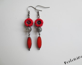 I want the Red! Labradorite stone and glass earrings.