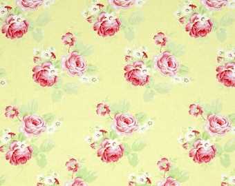 SALE Tanya Whelan Lulu Roses Yellow - Summer Fabric by the Yard - Yellow Pink Floral Fabric - Vintage Fabric - Girls Dress - Quilting Cotton