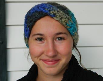 Blue and Gray Crochet Headband - Maisie Crossover Crochet Headband