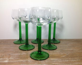 6 glasses Wine - Wine - Made in France - vintage glass - retro glass - glass shield tin