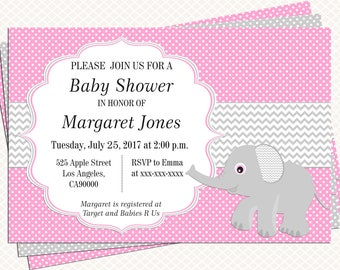 Elephant Baby shower Invitation. Pink and Gray. Girl Baby shower. Invitation printable. Personalized tags