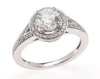 Moissanite / Engagement / Round/ Forever / Brilliant / Halo / 14K / White Gold / 6.5mm / Ring