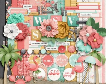 NEW- Flamingo Bay- Digital Scrapbooking Kit - 18 Papers - 60 Plus Elements - Paper Size - 12 x 12 Inches