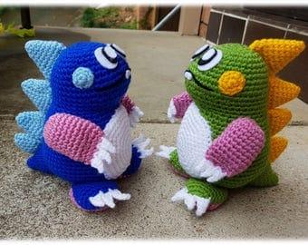 Bubble Bobble crochet character plushies