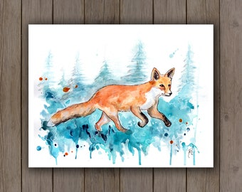 Watercolour Art Print - Fox with Trees / Watercolor Splatter Painting / Surreal Wildlife Running Red Fox / Turquoise Blue Aqua Teal Boho