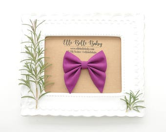 Purple Sailor bow clip-Elle Baby Headband - Hairbow with tails - Toddler hairclip -Nylon Headband-Elle Belle Baby