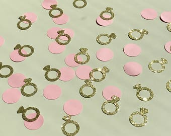 Bachelorette Party Confetti; Bridal Shower Confetti; Engagement Party Confetti; Wedding Confetti; Blush Pink and Gold