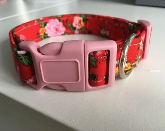 Red vintage floral Dog collar