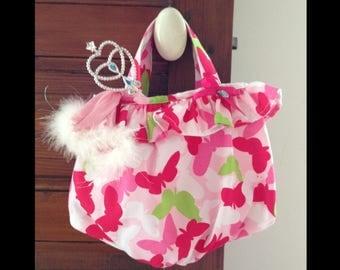 Butterfly print fabric ruffle bag