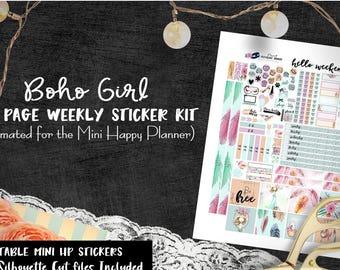 Boho Girl / MINI Happy Planner weekly kit / MINI Happy Planner printable stickers /Digital Printable Planner Stickers/ Silhouette Cut Files