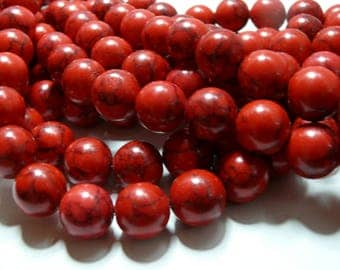 10 Red 6mm Turquoise Howlite beads