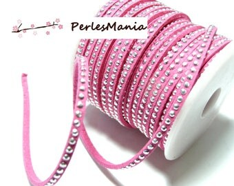 Suede rhinestone studded silver appearance suede cord faceted row pink H109