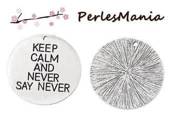 "1 pendant charm ""Keep Calm And Never Say Never"" S1156778 ANTIQUE silver color"