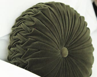 Dark Forest Green Vintage Style Round Cushion - Postage is free