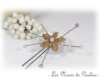 Peak bun beige and ivory flower satin wedding jewelry
