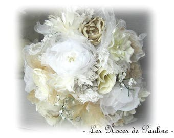 Ivory, white bridal bouquet, burlap lace fabric flowers handmade Lord