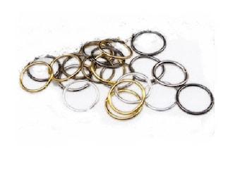 Set of 200 rings in bronze, gunmetal, gold, mixed metal silver 8 mm