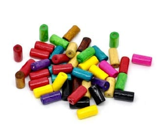 set of 10 12 mm x 6 mm colors wood tube beads