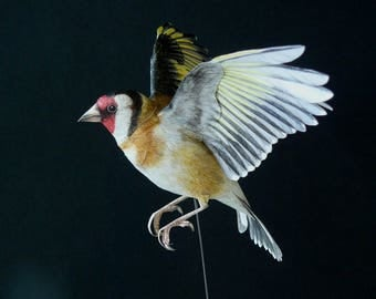 Flying Goldfinch, made of paper