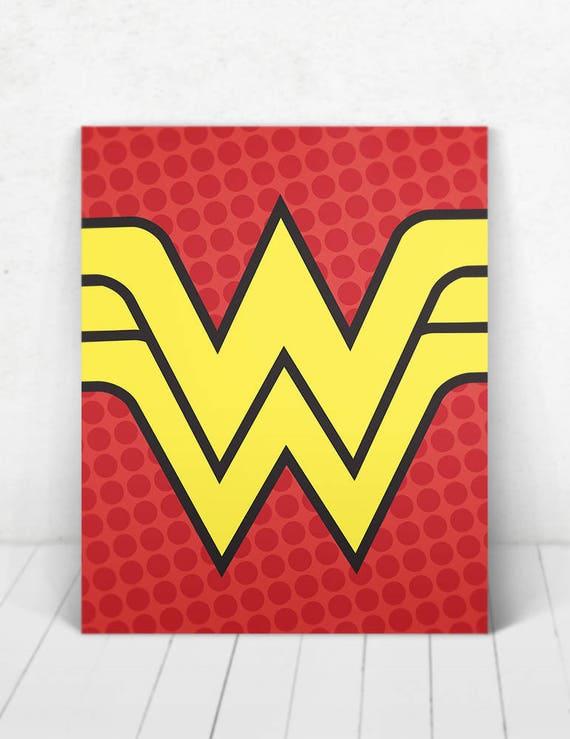 Superhero Wonder Woman Pop Art Wall Art  /Wonder Woman Logo Pop Art/ Wonder Woman Logo / Wonder Woman