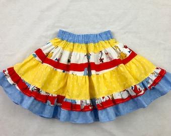 Girls ruffled skirt, size 5t, kids skirts, Dr. Suess skirt, children outfit, ruffled skirt for little girls