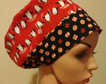 Women's Surgical Cap, Scrub Hat, Chemo Cap, Peppermint Penguin