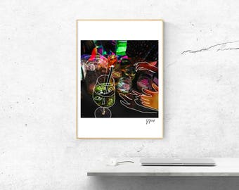 "A3 DIGITAL PRINT - ""Dreamy Drinks"" graphic"