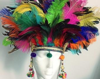 EXTRA WOW ostrich feather festival headdress, burning man feather headdress, festival headgear, feather festival crown, feather headgear