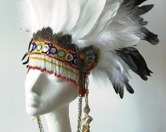 Tribal feather festival and tassel headdress, feather festival Burning Man headdress, festival feather crown, warrior woman headdress