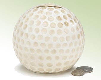 White Dimpled Golf Shaped Money Bank Resin Realistic