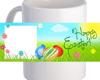 """Personalized """"Happy Easter!"""" Coffee Mug With Custom Printed Image Text"""