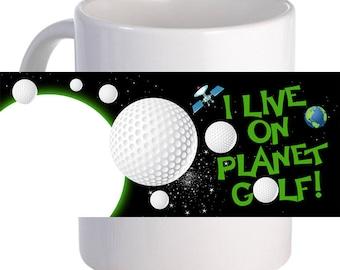 "Personalized ""I Live on Planet Golf!"" Beautiful Decorative Coffee Mug"
